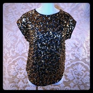 Limited dolman sleeve sequence gold black blouse S